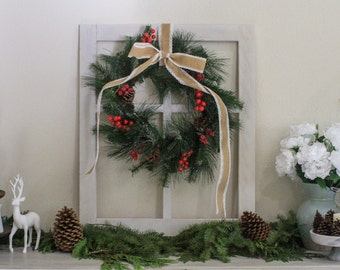 Rustic Window Frame w/Wreath