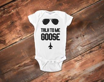 Funny Baby Onesies® Bodysuit, Talk To Me Goose Onesies® Bodysuit, Funny Boy Onesies®, Funny Baby Clothes