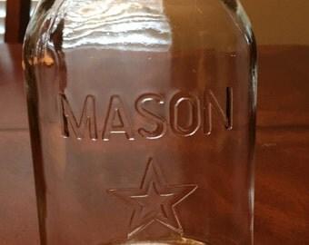 Vintage Mason Canning Quart Jar with Star
