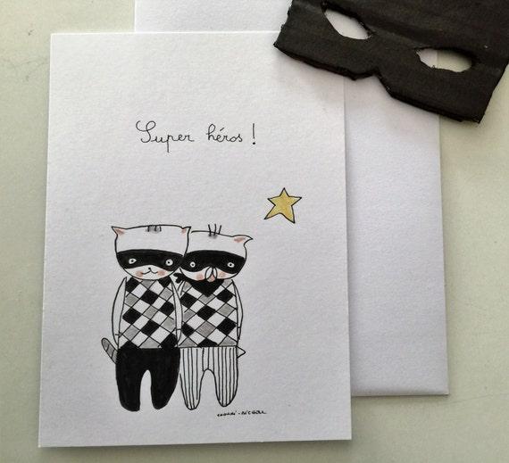 "Postcard ""Choumi et Michou Super Héros"""