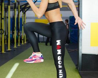 I Run for Mom Leggings / Running leggings / Black Leggins / Spandex Leggings / Printed Leggings / Patterned Leggings / Black Tights