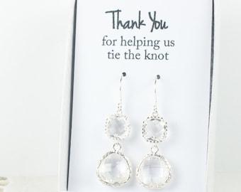 Long Crystal Silver Earrings, April Birthstone Earrings, Clear Silver Earrings, Bridesmaid Earrings, Crystal Wedding Jewelry