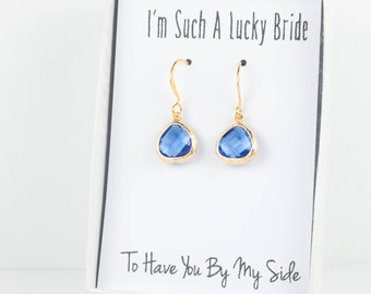 Tiny Sapphire Gold Earrings, Sapphire Blue Earrings, Blue Gold Earrings, Bridesmaid Jewelry, Bridesmaid Earrings, Blue Wedding Jewelry