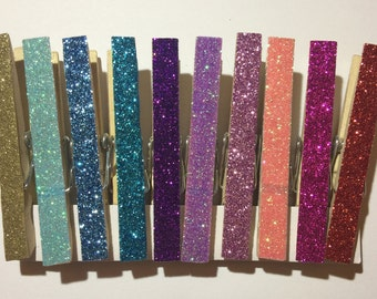 Glitter clothespins, photo clip, magnet set, set of 10
