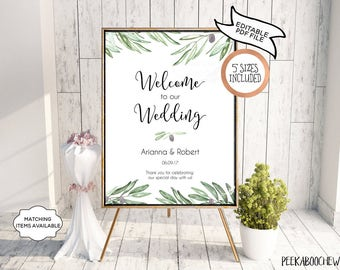 Wedding Welcome Sign Wedding Reception Greet Guests Personalized Editable Printable Welcome to Our Wedding Poster Board DIY Template PCOLWS
