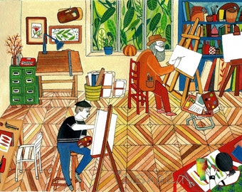 The workshop (illustration, digital printing Giclee of original painting)