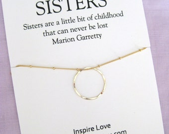 SISTERS Necklace. Gold Eternity Circle Necklace . 40th Birthday Gift for Sister . 30th Birthday Gift for her. 40th Birthday Sisters Necklace