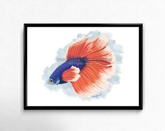 Betta Fish Print, Betta Fish Art, Fish Painting, Ocean Art, Beach Decor, Fish Wall Art, Living Room Wall Art, Beach Art, Bedroom Wall Art