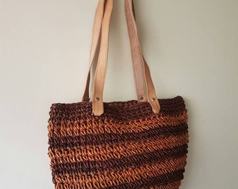 Woven tote bag • Wicker bag • Beach Bag • Shopping tote bag • Earthy tones • Handmade bag • Vintage tote bag