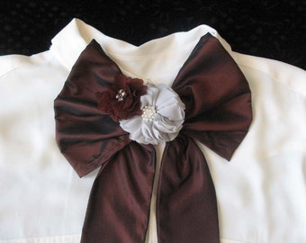 Scarf Necktie Bow with Detachable Flowers