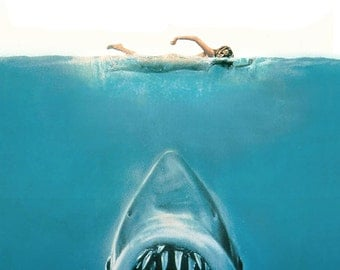 Jaws - Jaws Movie - Jaws Poster - Jaws Print - Jaws Movie Poster - Shark - 12x18 - 24x36 (JS00164)