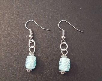 Blue acrylic funky beaded drop dangle earrings with silver detail