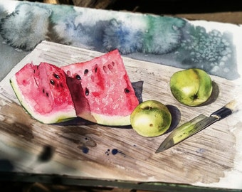 Sunlit watecolor still life with apples and watermelon