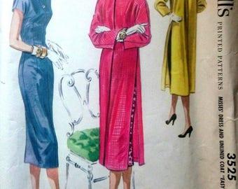 "Vintage 1950's Sewing Pattern Mandarin Oriental Dress & Duster Coat 14 Bust 32"""