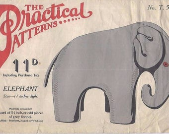 "Vintage 1940's Practical Reproduction Sewing Pattern Elephant Toy 11"" Rare WW2"