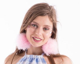 FEATHER POM POM Earrings - Pastel Pink Fluffy with hook or clip on
