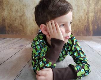 Pears shirt Green Brown hamburger love Gr. 74-134