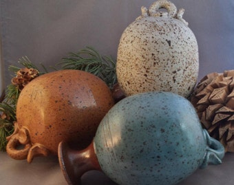 Unique Pottery Accents - Clay Bottles - Rustic Pottery on Ropes - Speckled Glaze - Cream, Blue, and Terracotta