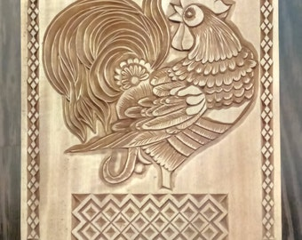 Panel made of wood. Cock.
