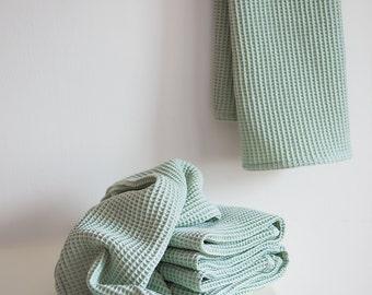 Waffle cotton face towel Set Light green, Waffle Weave Spa Towel, hand towels, kitchen towels, waffle tea towels, Travel towel, waffle linen