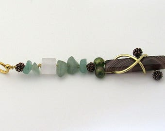 """Black Agate and Green Aventurinen 4"""" necklace"""