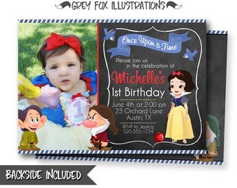 Snow White Invitation, Snow White Birthday Invitation, Snow White Party, Picture, Photo, Personalized, Printables, Seven Dwarfs, Invites