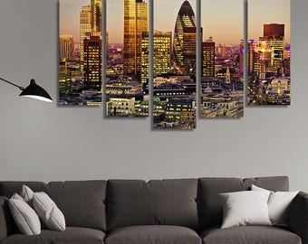 LARGE XL City of London Canvas Print Tower 42 Gherkin,Willis Building,Stock Exchange Tower Canvas Wall Art Print Home Decoration - Stretched