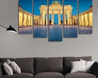 LARGE XL Brandenburger Tor, Brandenburg Gate Canvas Print blue at dawn, Berlin, Germany Canvas Wall Art Print Home Decoration - Stretched