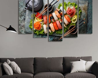 Sushi, Sushi Plate, Japanese Art, Japanese Food, Japanese Canvas, Japanese Wall Art, Japanese Wall Hanging, Restaurant Décor, Kitchen Décor