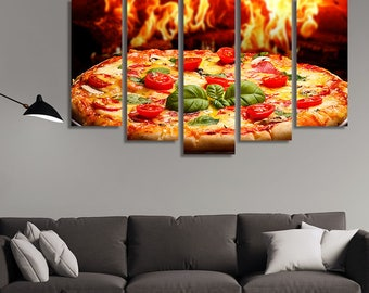 Restaurant Wall Art, Italian Food, Food Photography, Pizza, Kitchen Décor, Canvas Art, Canvas Print, Restaurant, Stretched Canvas
