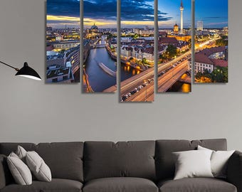 LARGE XL Spree River in Berlin, Germany Canvas Wall Art Print Home Decoration - Framed and Stretched - 1119