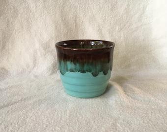 Gorgeous vintage fat lava Flowerpot, aqua blue with Brown