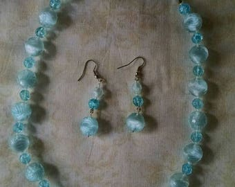Light Blue Springtime Jewelry Set, Necklace and Earrings