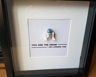 Shadow Box Frame//Star Wars//R2D2//C3P0//BB8//Droids//Minifigures//Gift//Personalise//Geek//Love//Couple//Anniversary//Engagement