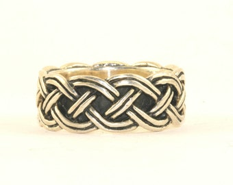 Vintage Men's Woven Braided Style Band Ring 925 Sterling Silver RG 1442