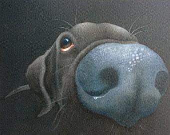 Inky the black labrador retriever painting