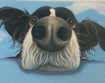 border collie painting on ready to hang canvas