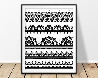 Wall art printable, Boho prints, Mehndi print, Indian wall art, Henna tattoo, India poster, Bohemian art, Ethnic decor, Hippie art, Black