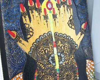 Original painting on canvas Indian princess with mehendi on their hands. Henna art. Indian art. indian girl. wall decor. natural henna.