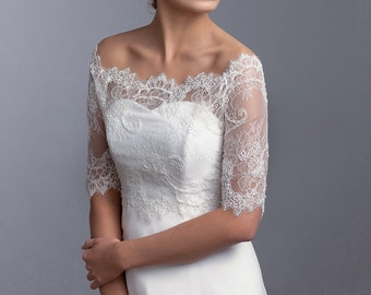 Delicate french lace topper with beads, Off-shoulder bridal topper, 3/4 sleeve wedding topper, Lace bolero. Bridal bolero