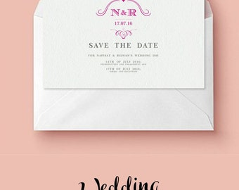 Wedding, Save the Date, Personalised, Printable, Save the Date Template, Invitations, Modern, Abstract