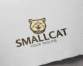 Small Cat Logo. Kitty Logo. Pet Logotype.
