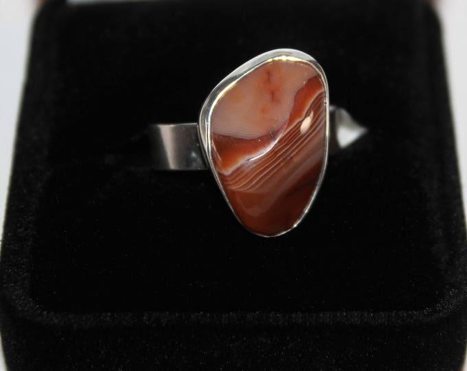 Lake Superior Agate Ring: LSAR-7  Size 8.75