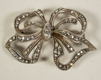 Silver brooch with marcasite, bow, jewellery, 1950s
