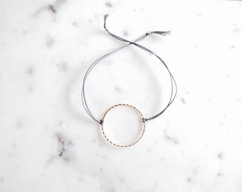 24K Gold circle bracelet - Dainty 24K Gold Plated string bracelet - Layering 24K gold bracelet - Friendship Bracelet - Gift for her under 15