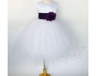 White V-Neck Open Back Carnation Dress Plum Sash Flower Girl Wedding Bridesmaid Junior Toddler Graduation Fall Holiday Ceremony Pageant Chic