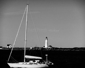 Boston Harbor Sailboat and Lighthouse; Boston, MA; New England Photography; Black and White; bedroom; bathroom; beach house; kitchen