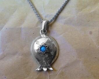 Pomegranate necklace - Silver pomegranate - Jewish necklace - Silver necklace - Rosh Hashana - Sterling silver - Opal gemstone - Pomegranate