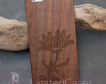"Case for iPhone 6plus, 6s plus with real Walnut wood covering, engraved ""Stilblüte"""