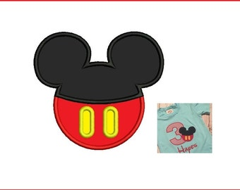 Mickey Mouse Applique Design - 3,4,5 inch size instant download